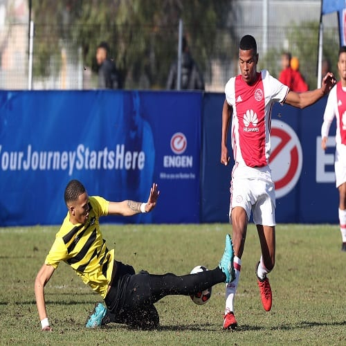 GV, General View of action of the match between Ajax Cape Town (Red) and Milano United (Yellow) during Day 2 of the 2017 Engen Knockout Challenge Cape Town at Parow Park, Parow, Cape Town on 1 July 2017 ©Chris Ricco/BackpagePix